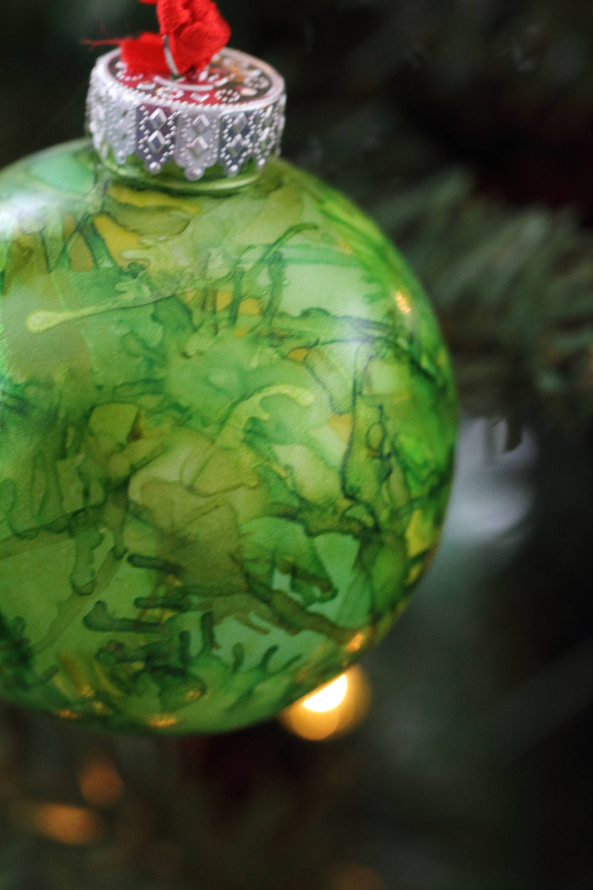 Hand Painted Green And Yellow One Of A Kind Ornament