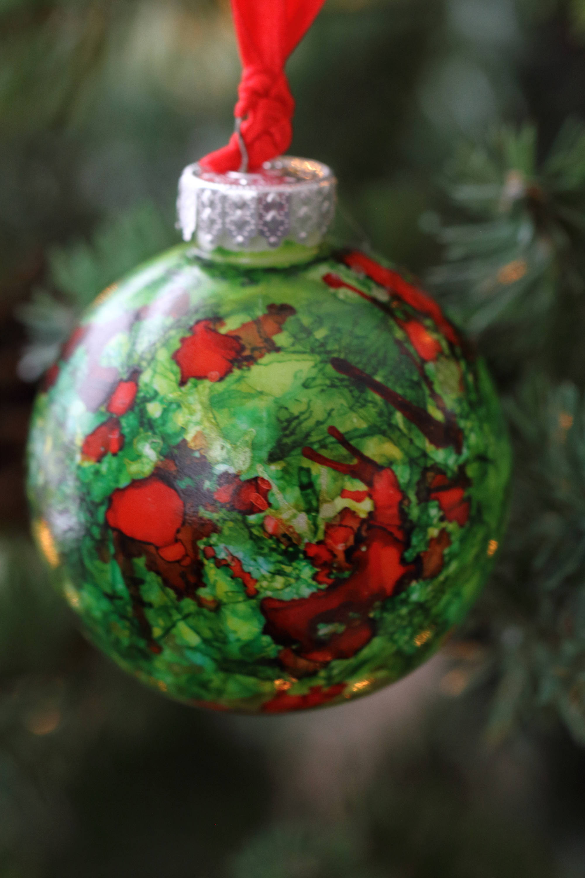 Hand Painted Red And Green One Of A Kind Ornament Bauble